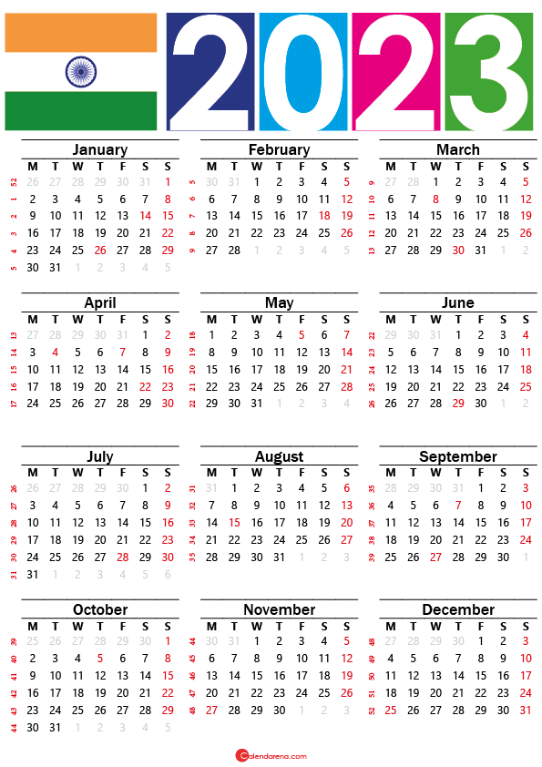 Calendar 2023 india with holidays and festivals