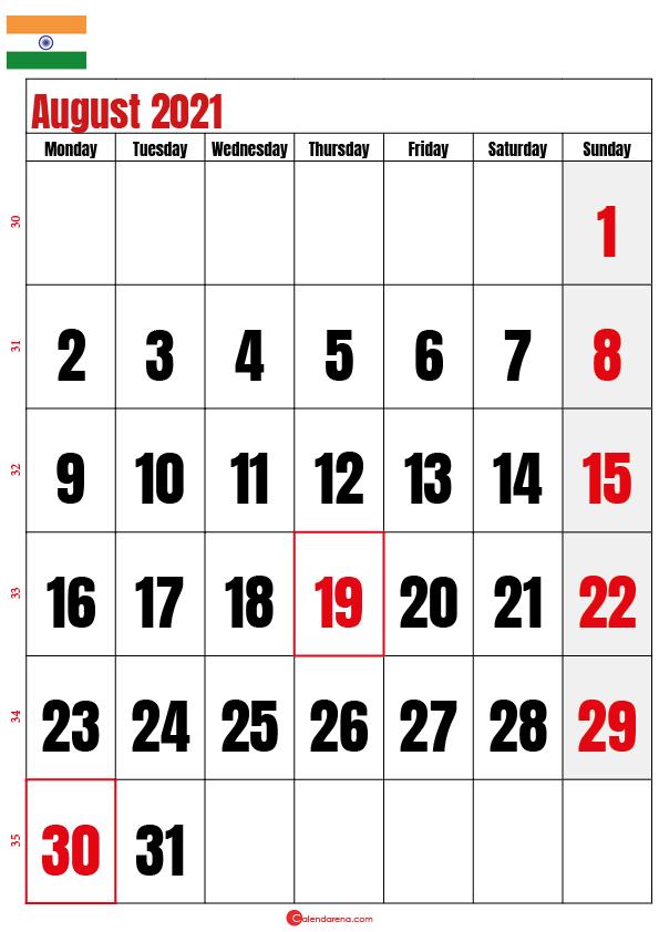 august calendar 2021 india