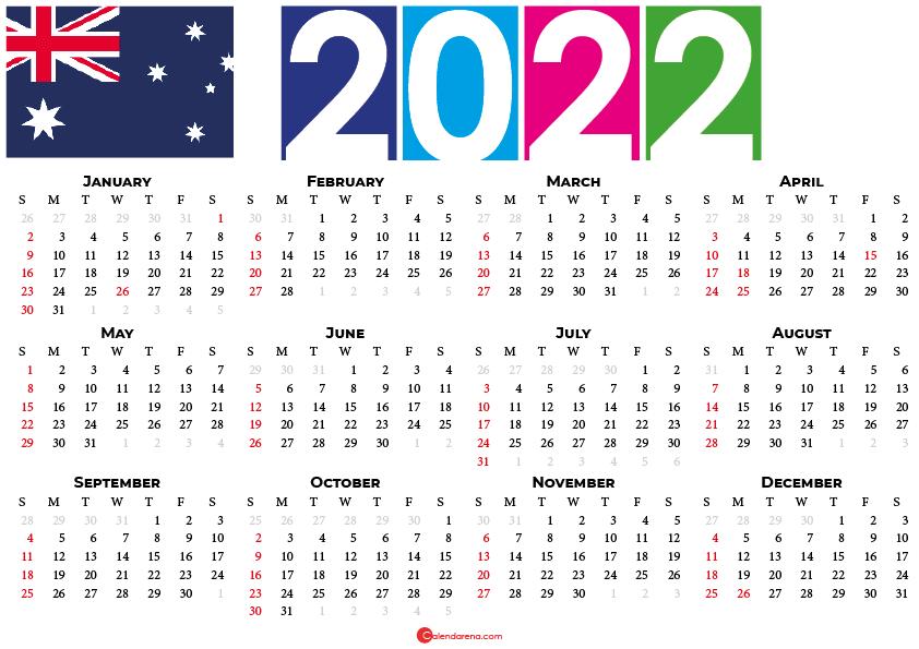 calendar 2022 australia