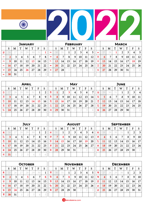 calendar 2022 india with holidays and festivals