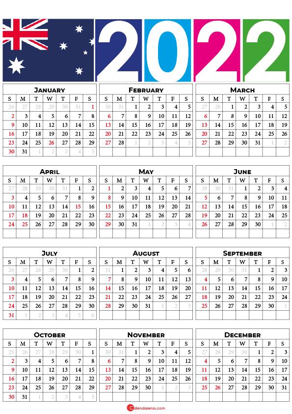 calendar 2022 printable australia