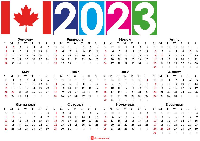 calendar 2023 canada
