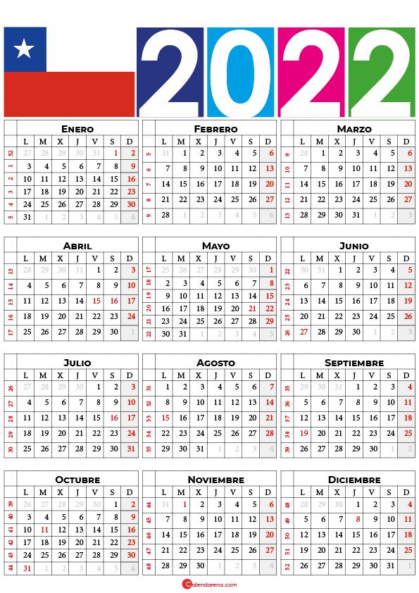 calendario 2022 chilie con festivos