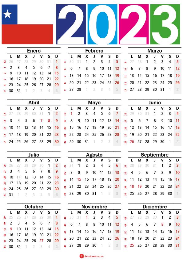 calendario chilie 2023 con festivos