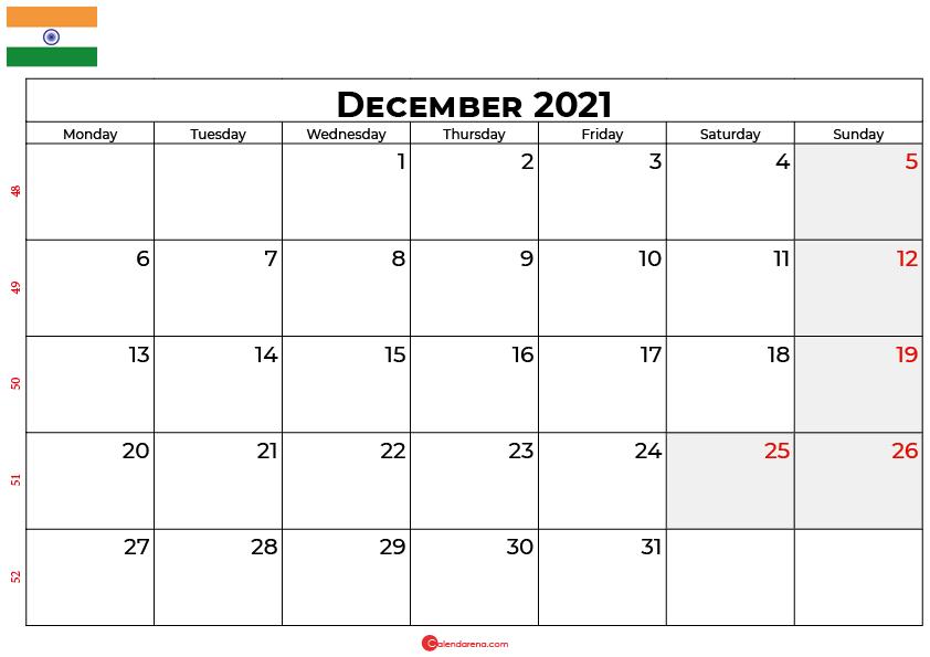 december 2021 calendar india