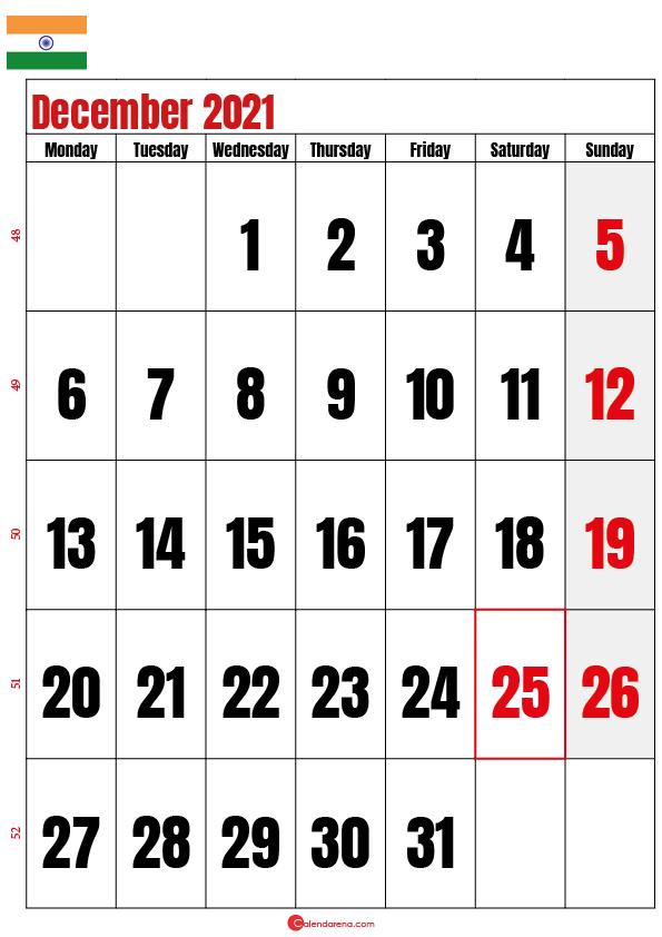 december calendar 2021 india
