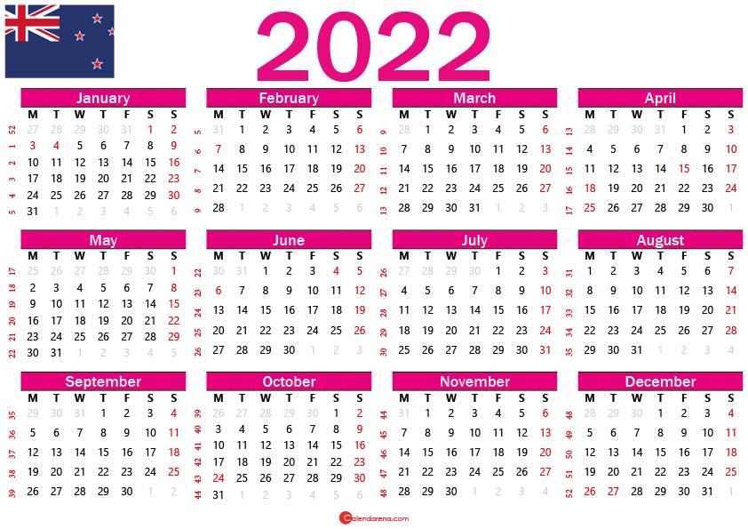 free printable calendar 2022 new zealand
