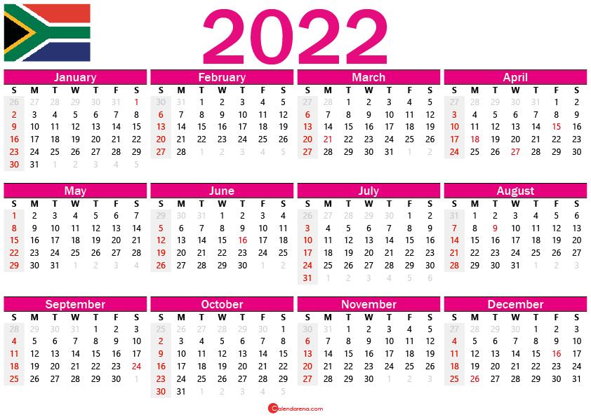 free printable calendar 2022 south africa