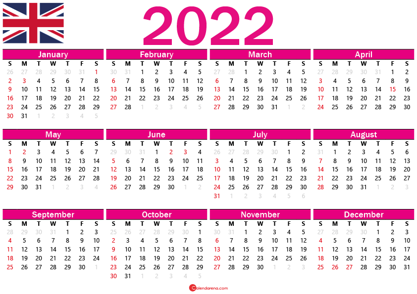 free printable calendar 2022 uk