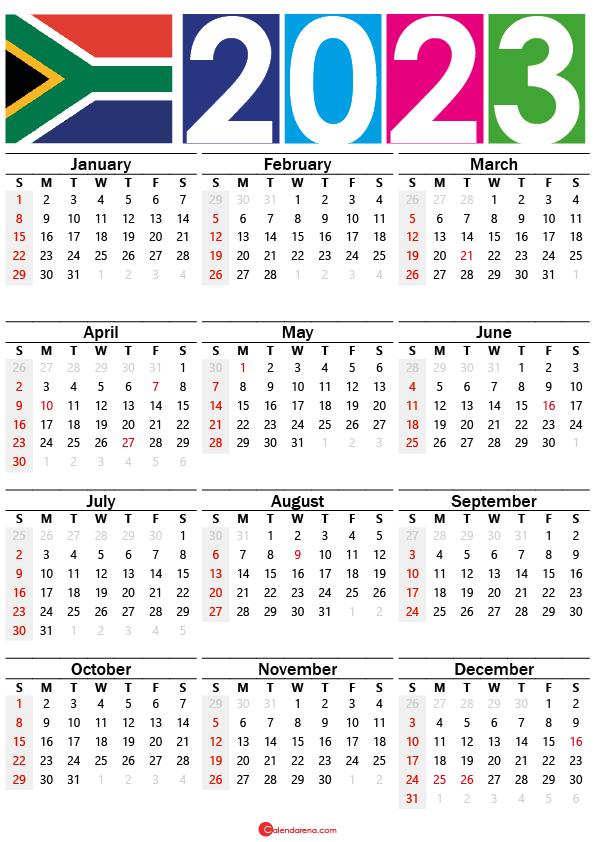 free printable calendar 2023 south africa