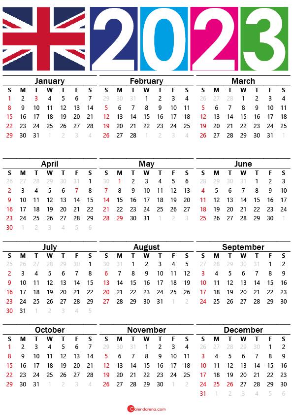 free printable calendar 2023 uk