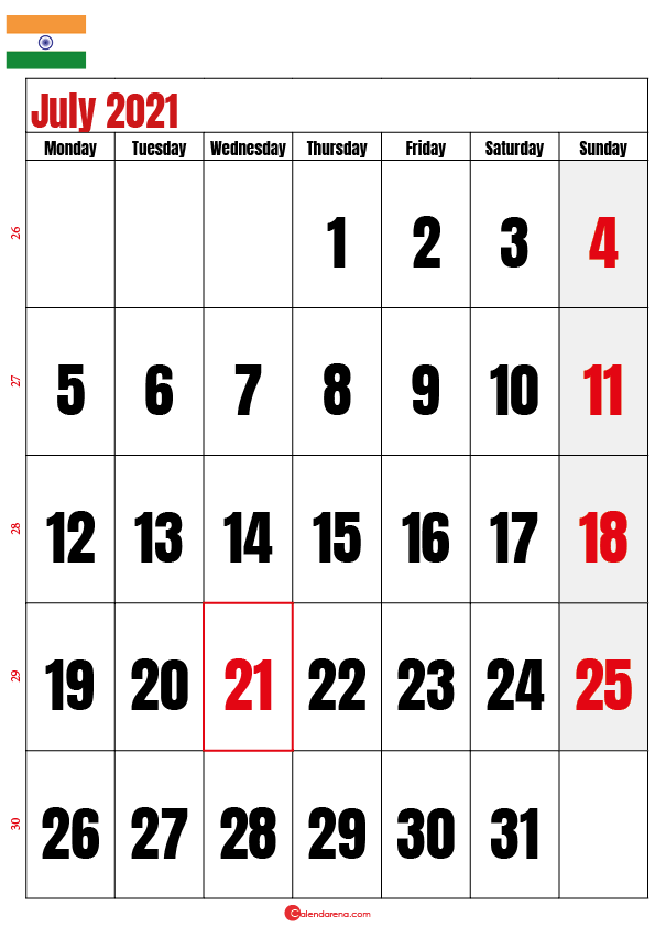 july calendar 2021 india