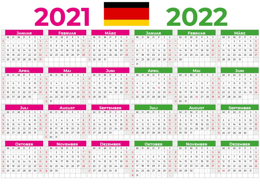 kalender 2021 2022 mit feiertagen Deutschland