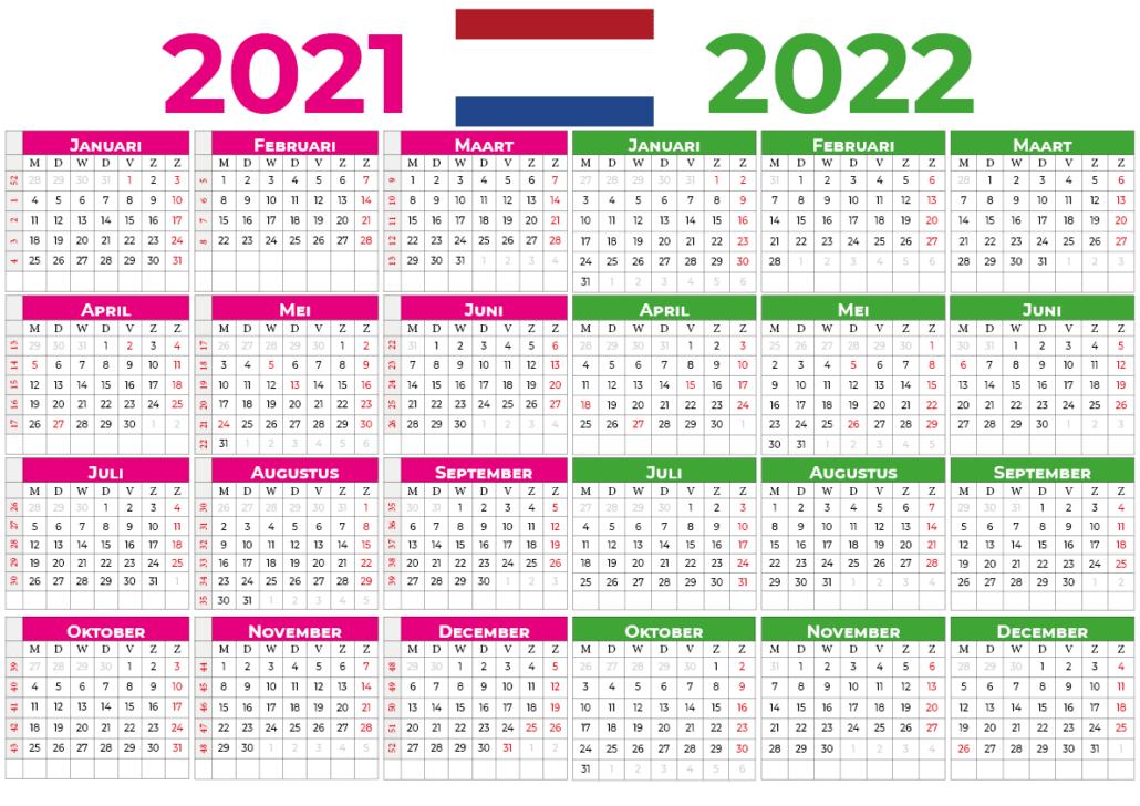 kalender 2021 2022 mit feiertagen Nederland