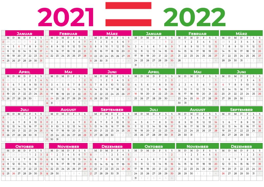 kalender 2021 2022 mit feiertagen Österreich