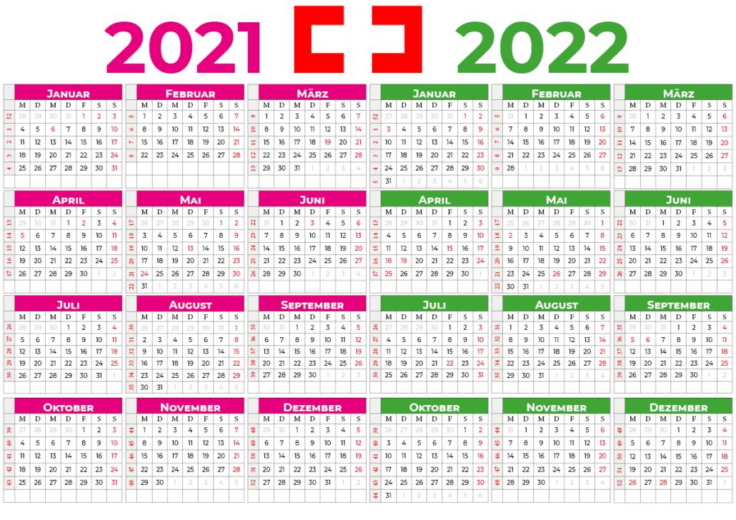 kalender 2021 2022 mit feiertagen Schweiz