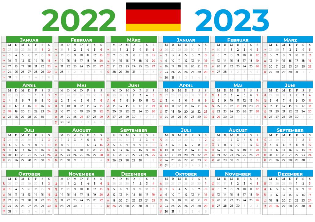 kalender 2022 2023 mit feiertagen Deutschland