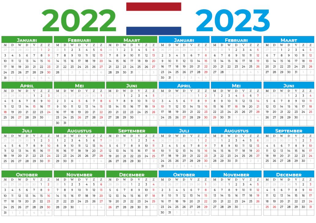 kalender 2022 2023 mit feiertagen Nederland