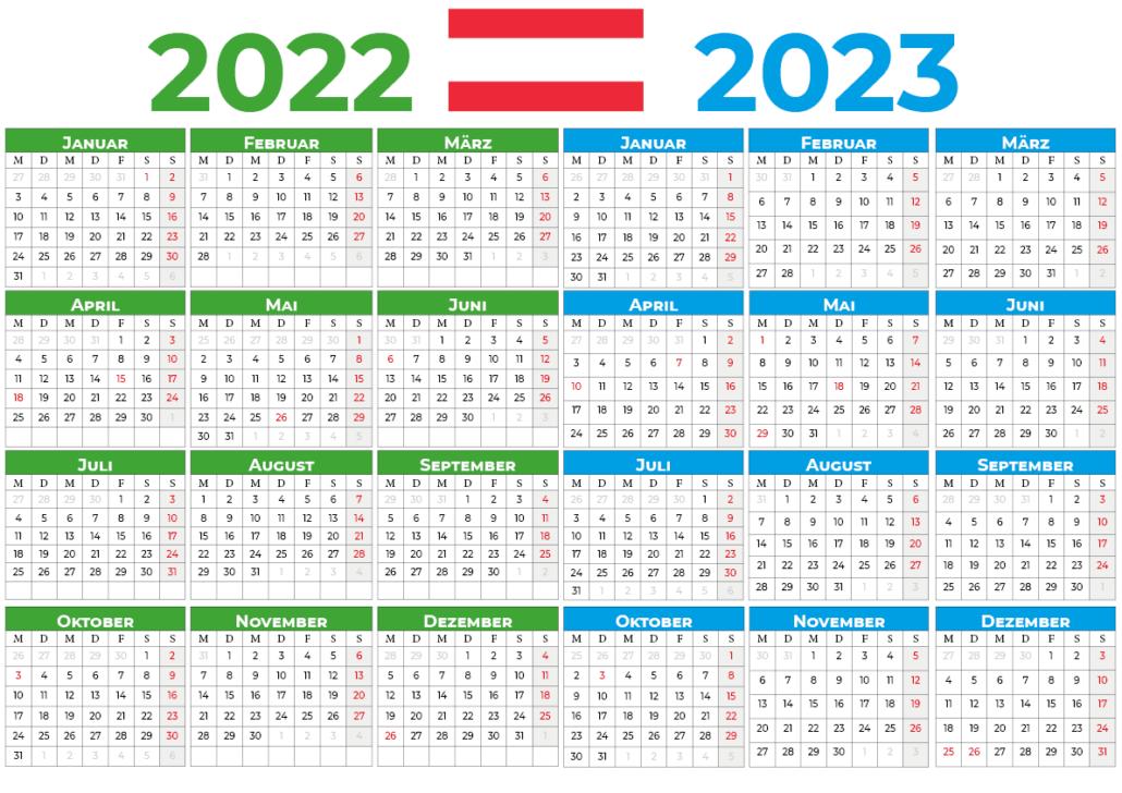 kalender 2022 2023 mit feiertagen Österreich
