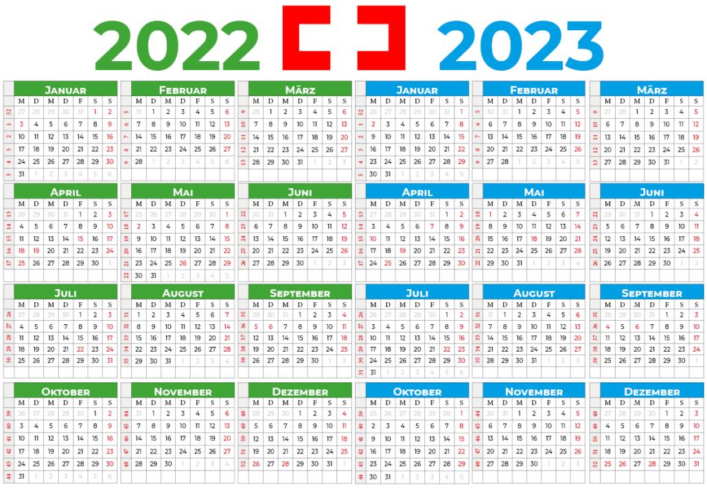 kalender 2022 2023 mit feiertagen Schweiz