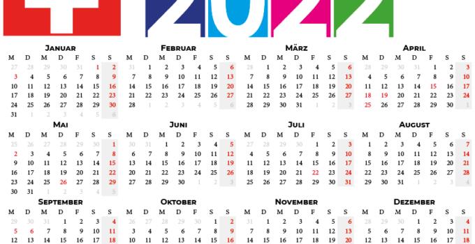 Kalender 2022 zum Ausdrucken für Schweiz