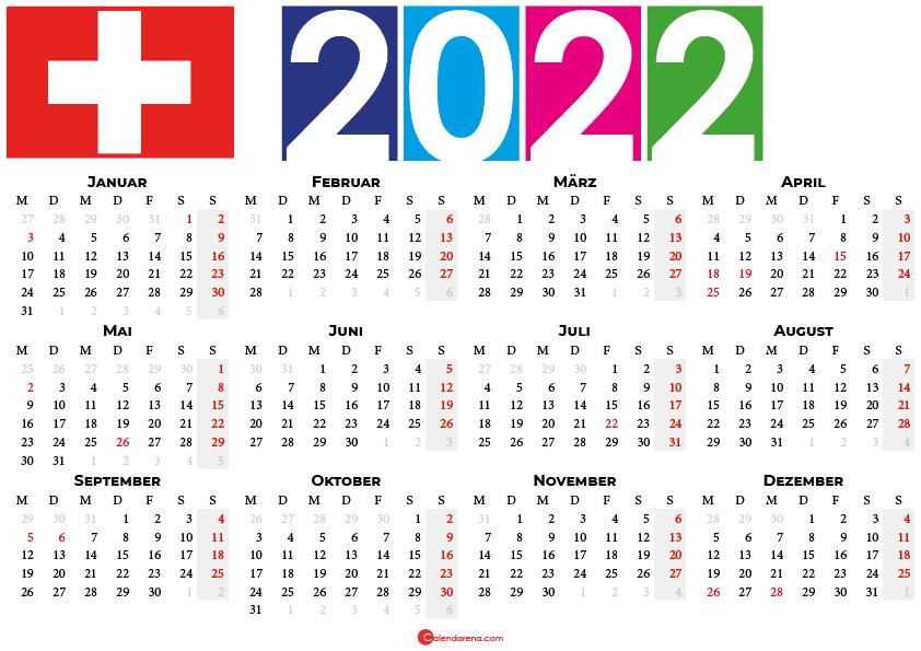 kalender 2022 Schweiz