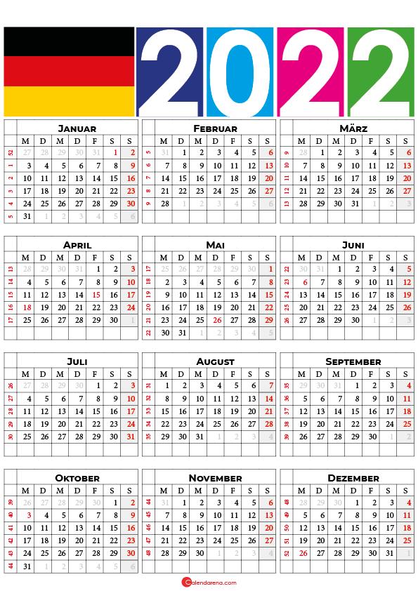 kalender 2022 mit feiertagen Deutschland