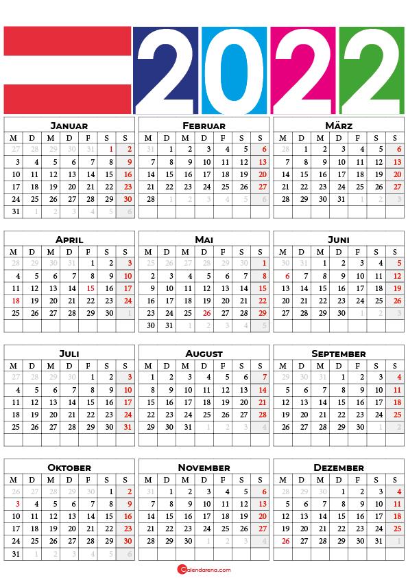 kalender 2022 mit feiertagen Österreich