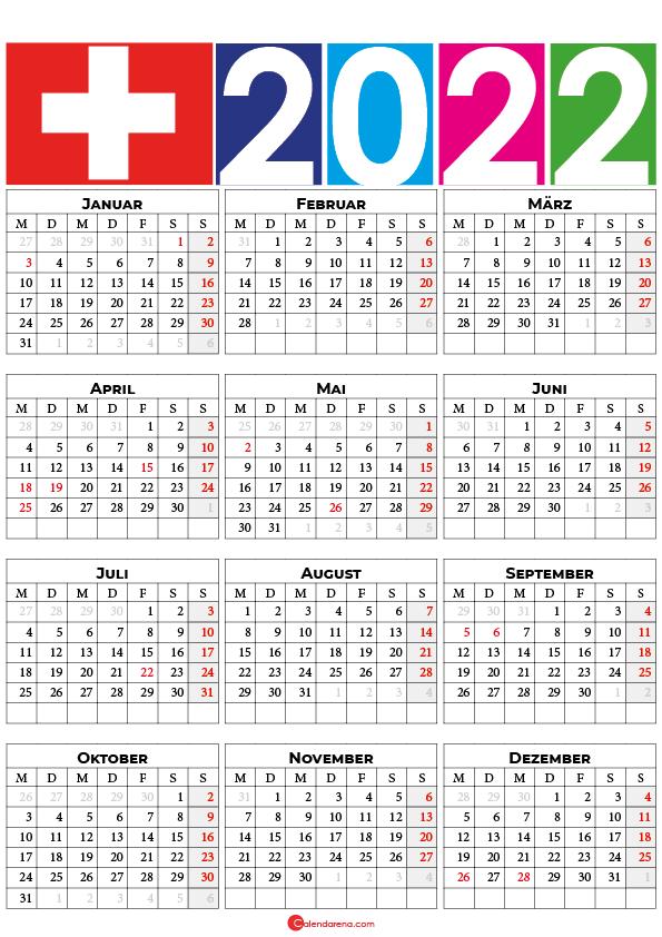 kalender 2022 mit feiertagen Schweiz