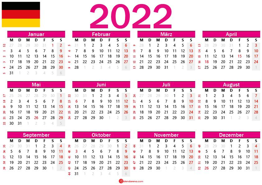 kalender 2022 zum ausdrucken Deutschland