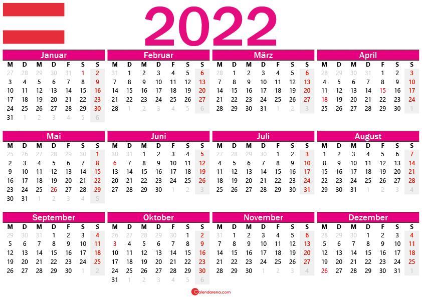 kalender 2022 zum ausdrucken Österreich