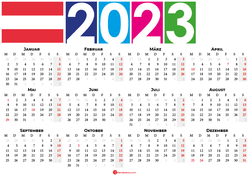 kalender 2023 Österreich