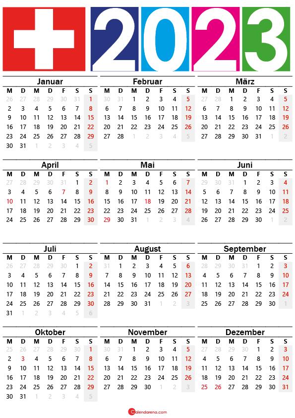 kalender 2023 mit feiertagen Schweiz