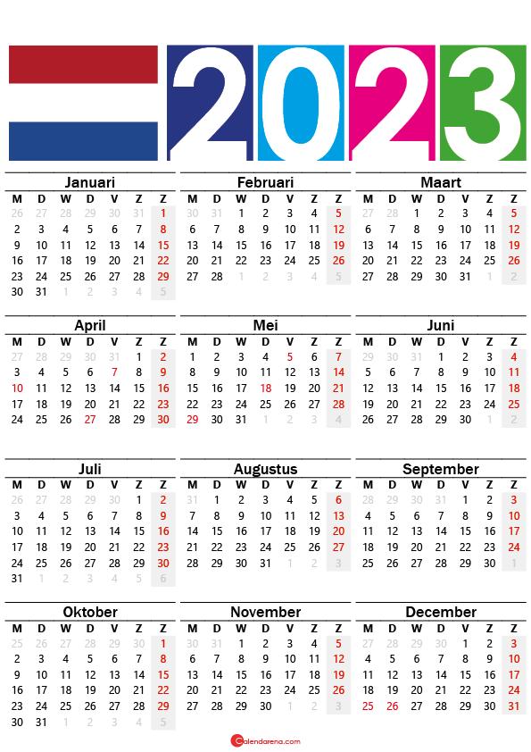kalender 2023 printen Nederland