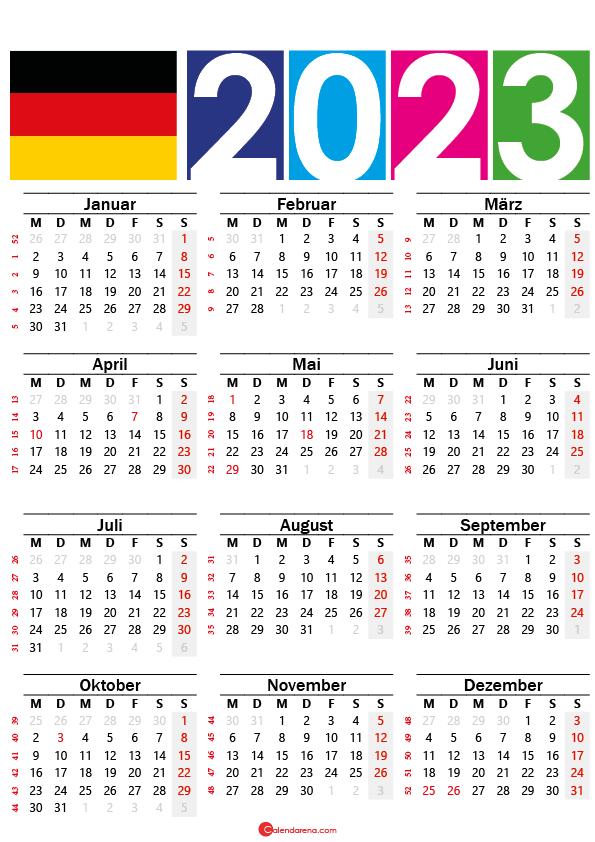 kalender 2023 zum ausdrucken Deutschland