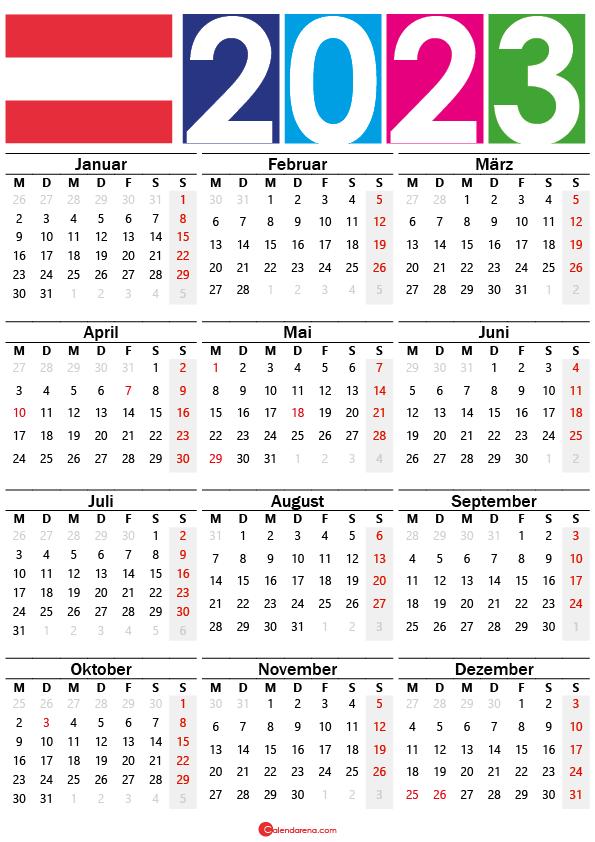 kalender 2023 zum ausdrucken Österreich