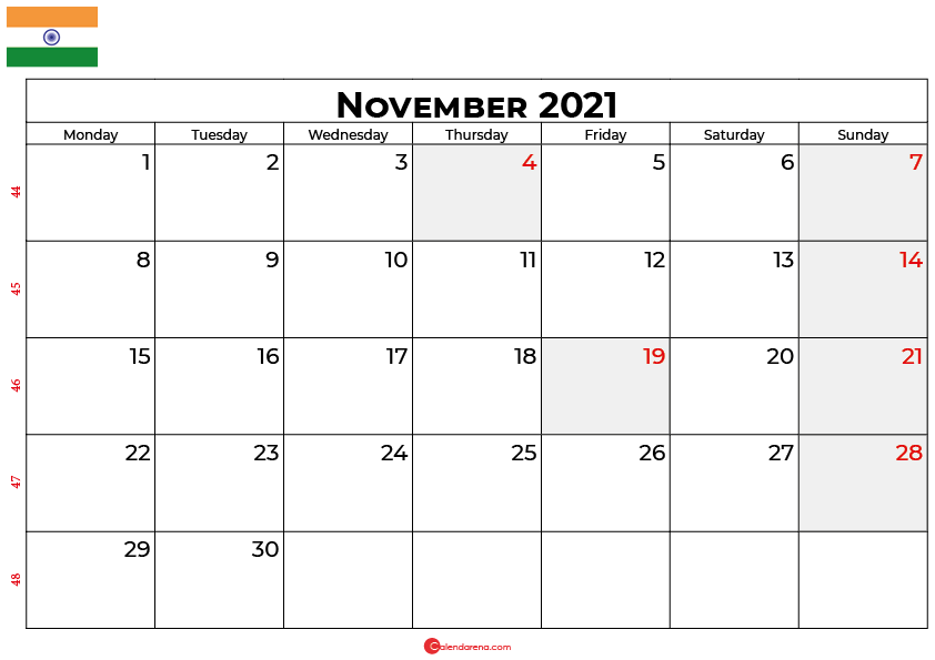 november 2021 calendar india