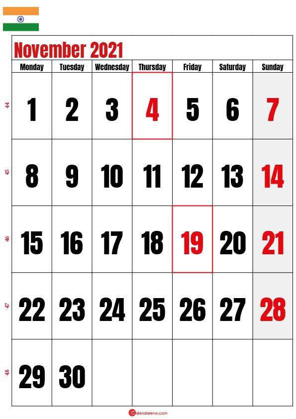 november calendar 2021 india