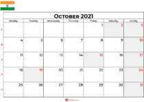 october 2021 calendar india