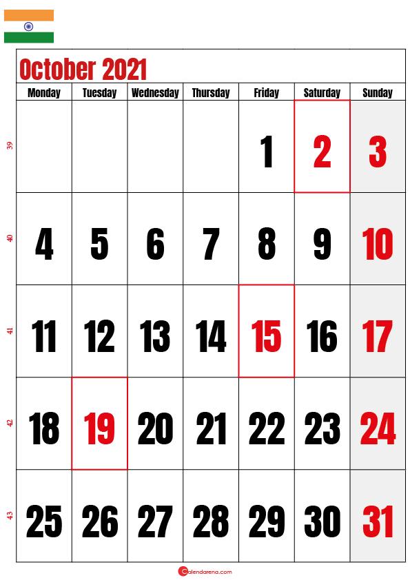 october calendar 2021 india