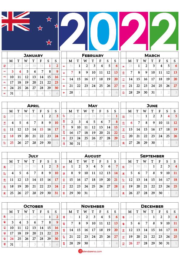 printable 2022 calendar new zealand
