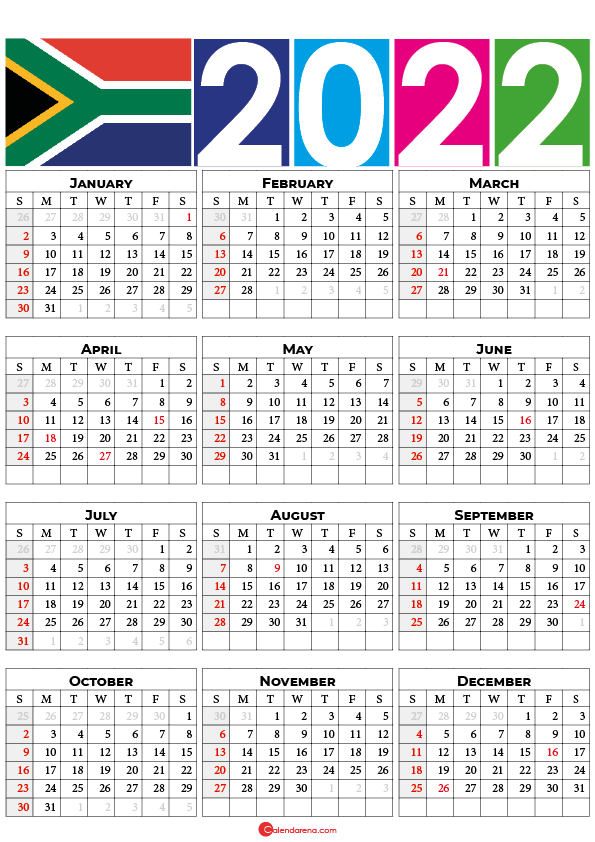 printable 2022 calendar south africa