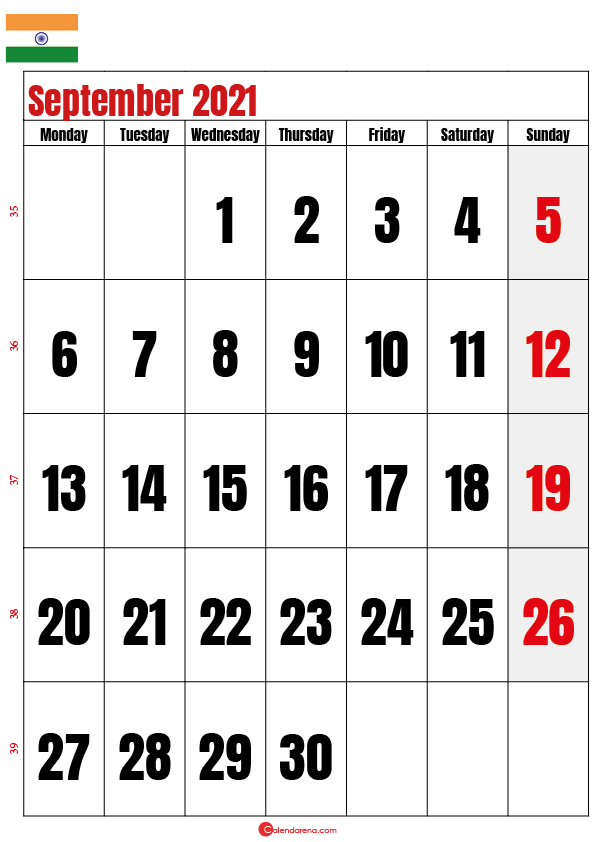 september calendar 2021 india