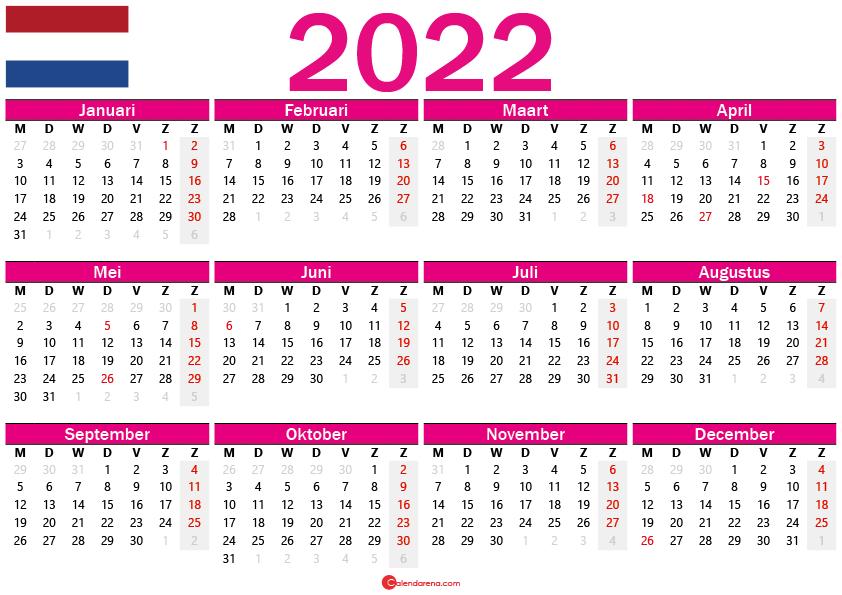 week kalender 2022 Nederland