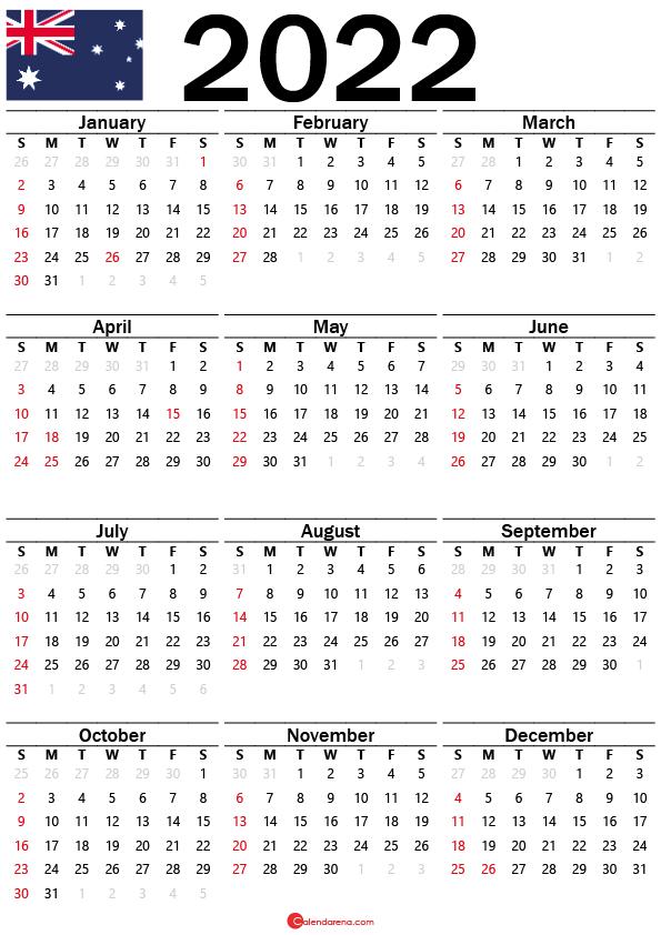 yearly calendar 2022 australia