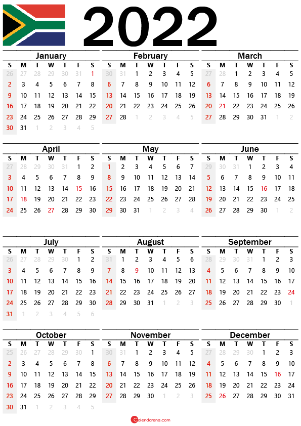yearly calendar 2022 south africa