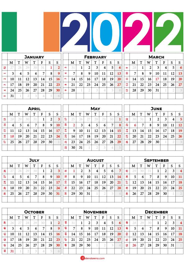 2022 calendar printable ireland