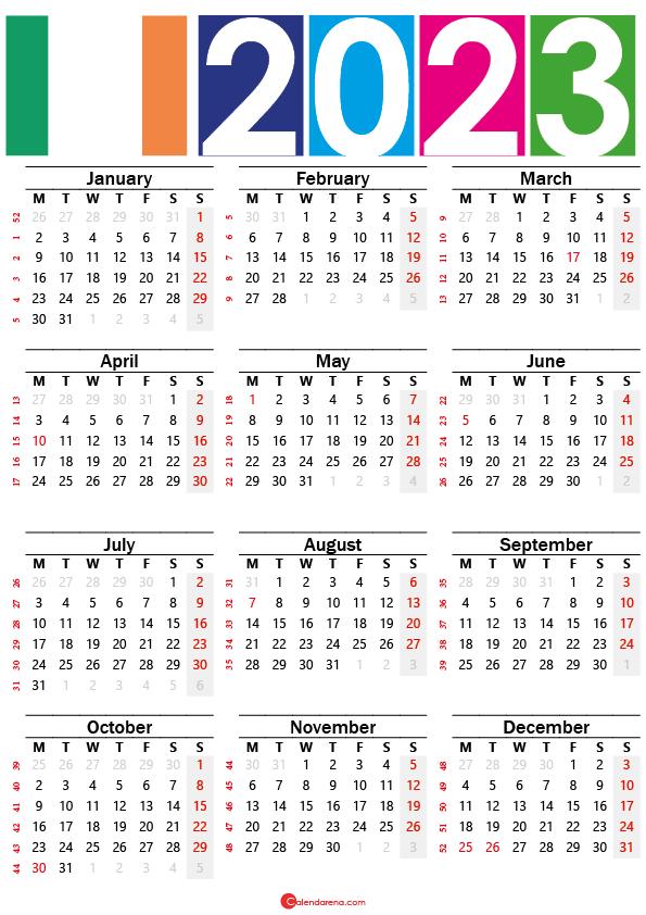 2023 calendar printable ireland