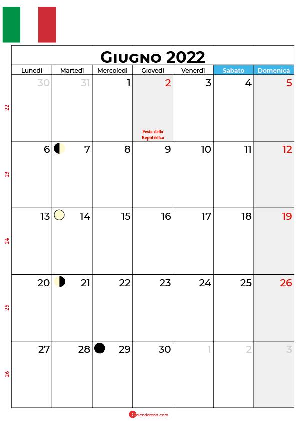 Calendario 2022 Giugno