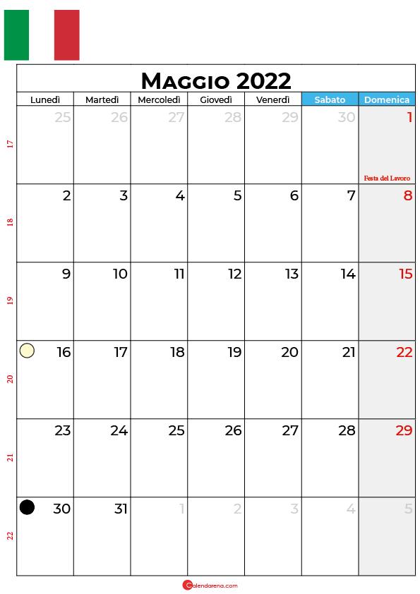 Calendario 2022 maggio